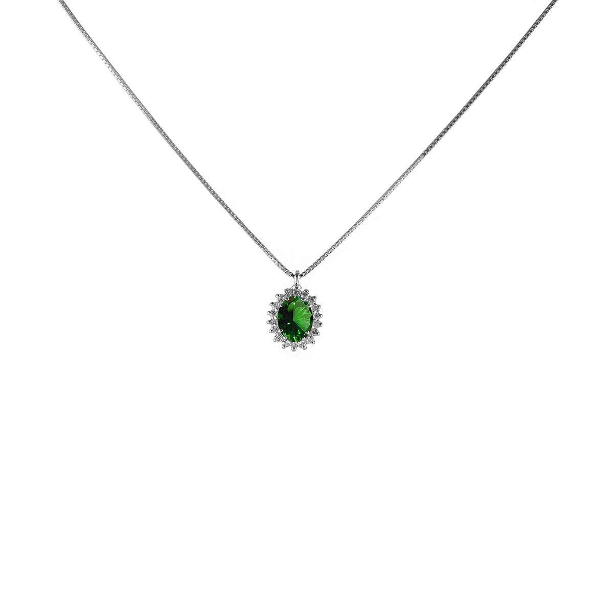 pendente smeraldo e diamanti  pls011